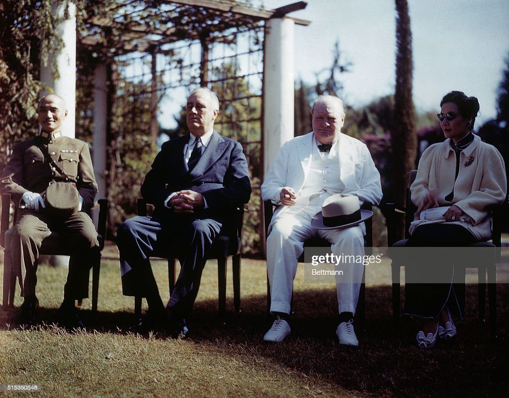 Chiang Kai-Shek with Franklin D. Roosevelt and Winston Churchill : News Photo