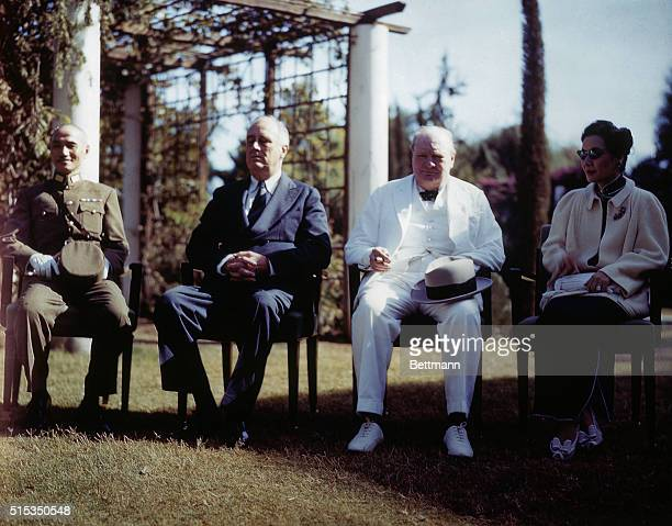 President Roosevelt seated outside during the Cairo Confererence with Mr and Mrs Chiang Kai Shek and Winston Churchill
