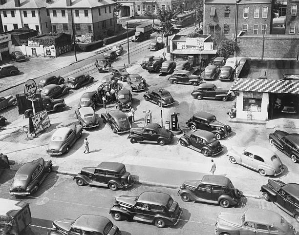 Cars Surround One Gas Pump