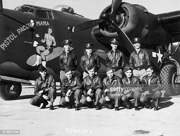 1944Ten men who make up the scrappy crew of the Pistol Packin' Mama are top row left to right Lt GF Bradley pilot Lt PJ Sheridan copilot Lt JP...