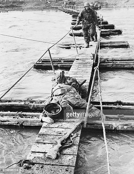 Roer River, Germany: Yank killed by enemy mortar fire while crossing the Roer. BPA2