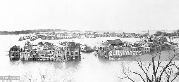 Walcheren, The Netherlands- Neptune in Possession: Here is a view of Walcheren after the sea had roared in through gaps blown in the dykes by the...