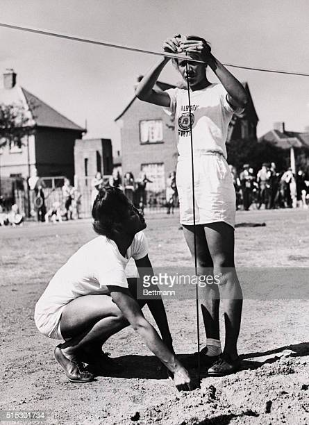 1948London EnglandEmma Reed of Tennessee and Alice Coachman of Georgia members of the US Olympic team are shown as they continued to keep in shape at...