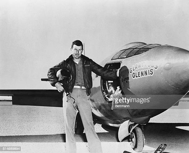 1949Captain Charles Yaeger besides Bell X1 after first powered take off of supersonic plane