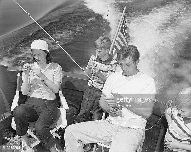 1949Las Vegas NV Recovering from a recent Hollywood ordeal actor Robert Mitchum takes his family on a fishing vacation at famed Lake Mead the desert...