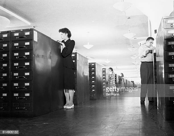 The U S Census Bureau files at Sutland MD Contains a card for every person in the United States Here is a view of an aisle between the file cabinets...