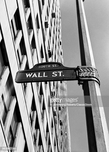 1950s 1960s WALL STREET SIGN