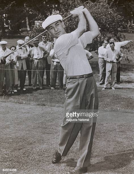 Ben Hogan Swings in front of a small gallery during the 1950s Masters Tournament at Augusta National Golf Club on April of the 1950s in Augusta...