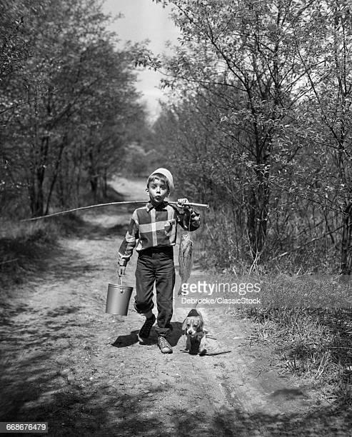 1950s BOY WITH BEAGLE...