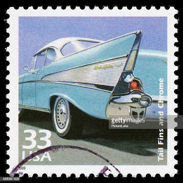 usa 1950s cars postage stamp - 1957 stock pictures, royalty-free photos & images