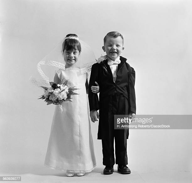 1950s CHILDREN GROOM BRIDE...
