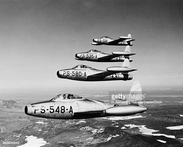 1950s FOUR US AIR FORCE F-8...