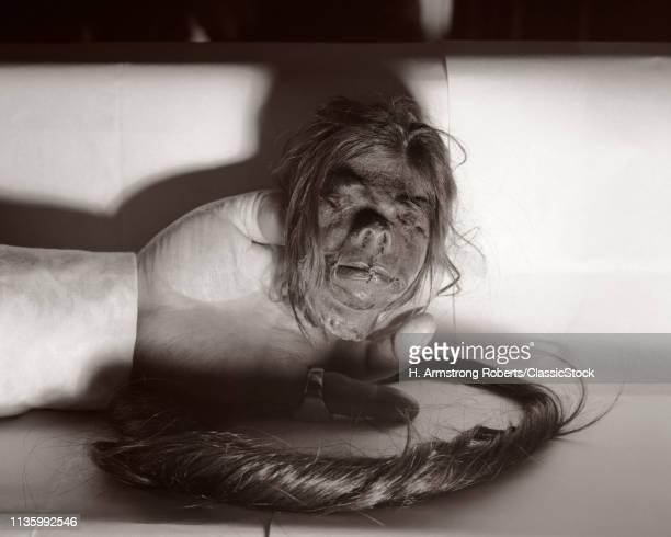 1950s HAND HOLDING SHRUNKEN HEAD FROM THE JIVARO TRIBE IN NORTHERN PERU AND EASTERN ECUADOR AMAZON REGION SOUTH AMERICAN