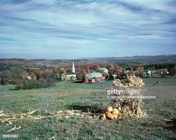 1950s HARVEST CORN PUMPKIN VIEW OF PEACHAM VERMONT SMALLTOWN CHURCH FARM