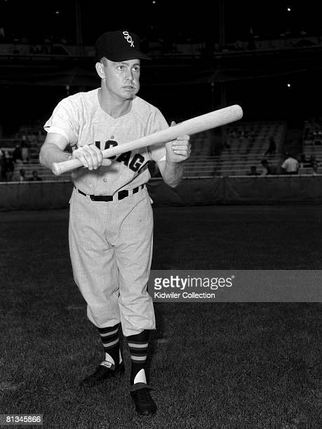 Infielder Nellie Fox of the Chicago White Sox poses for a portrait prior to a game in the mid1950s against the New York Yankees at Yankee Stadium in...