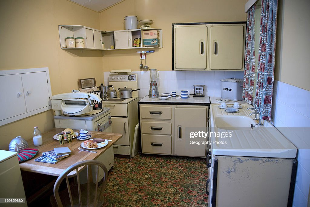 1950s kitchen, Museum of East Anglian Life, Stowmarket, Suffolk : News Photo