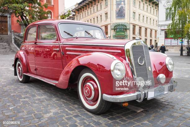 1950s mercedes-benz 220 w187 sedan parked in downtown ljubjana slovenia - mercedes benz stock photos and pictures
