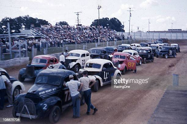 Modified stock cars line up for a race at Greensboro Fairgrounds in the 1950s