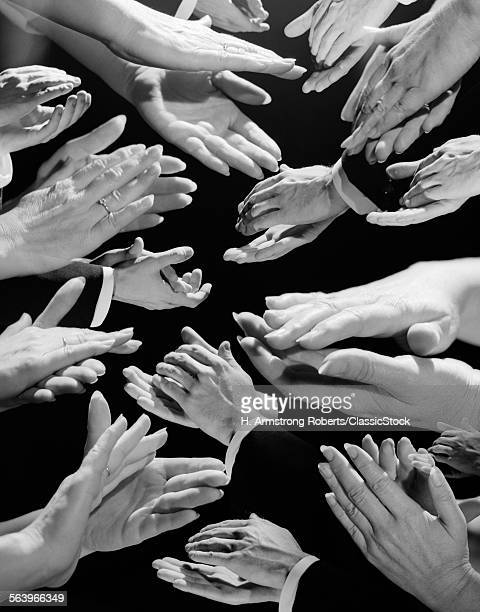 1950s MULTIPLE EXPOSURE MONTAGE AUDIENCE HANDS CLAPPING APPLAUSE APPROVAL ENCORE APPRECIATION WELL DONE THANK YOU