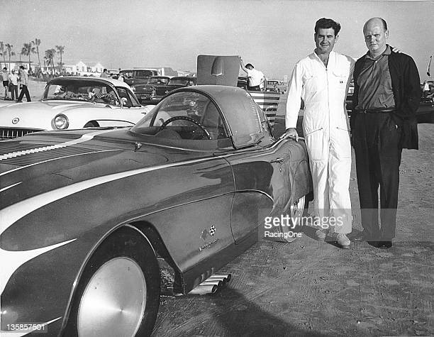 NASCAR star Buck Baker on the Daytona BeachRoad Course in Daytona Beach FL in the late 1950s with a highly modified Chevrolet Corvette that ran in...