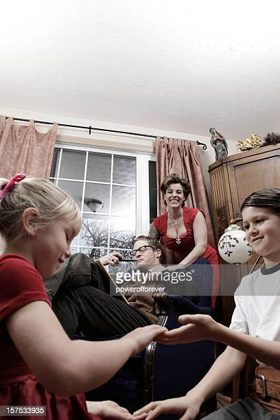 1950s nuclear family - husband and wife massage stock photos and pictures