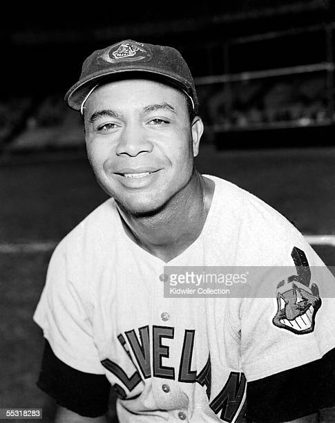 Outfielder Larry Doby of the Cleveland Indians poses for a portrait prior to a circa 1950s game against the New York Yankees at Yankee Stadium in New...
