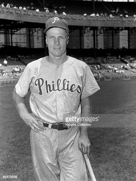 Outfielder Richie Ashburn of the Philadelphia Phillies poses for a portrait prior to a game in the 1950s against the New York Giants at the Polo...