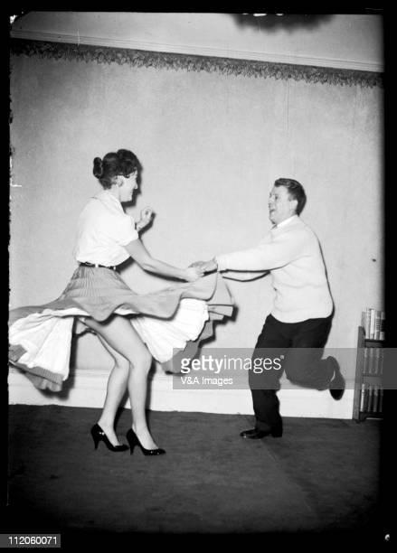 1950s rock'n'roll dancers jiving 1955