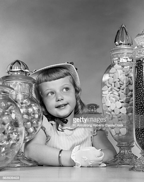 1950s SMILING GIRL WITH...