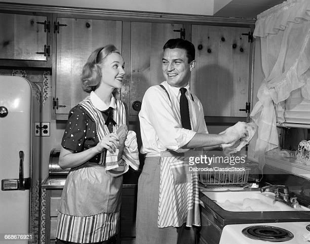 1950s SMILING HAPPY COUPLE...
