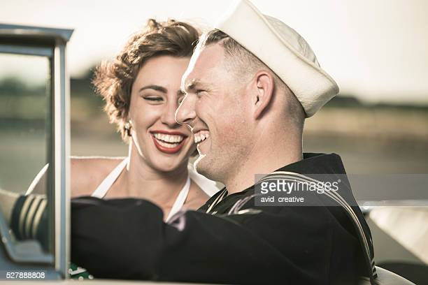 1950s Soldier Dating Girl in Car