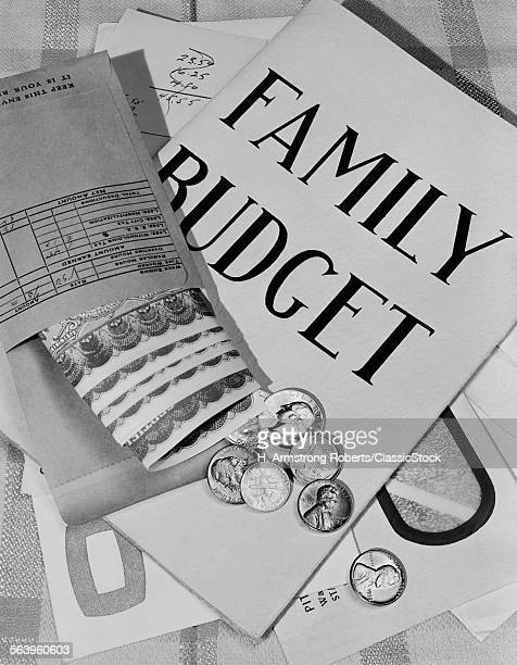 1950s STILL LIFE FAMILY BUDGET MONEY CURRENCY CASH COINS BILLS PAYROLL ENVELOPE