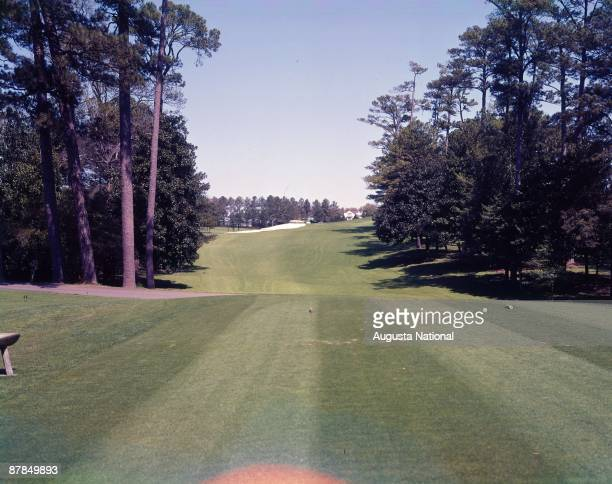 The 18th hole during a 1950s Masters Tournament at Augusta National Golf Club in Augusta Georgia