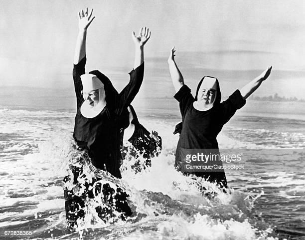 1950s THREE NUNS WEARING...