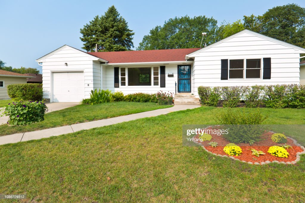 1950s United States Midcentury Modern Bungalow House Exterior Stock
