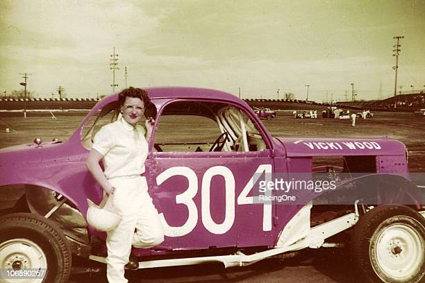 Vicki Wood poses with one of her short track stock cars at Toledo Raceway Park According to Wood on this day in the mid1950s she outqualified all of...