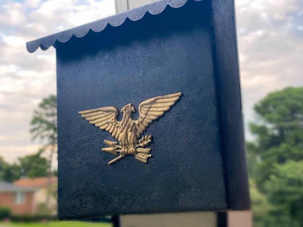 1950s vintage black metal mailbox with eagle detail