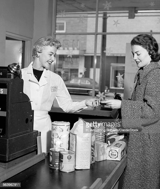 1950s WOMAN GROCERY STORE...