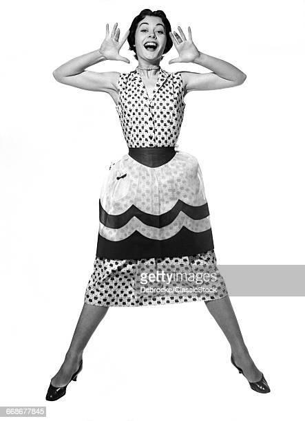 1950s WOMAN IN DRESS &...
