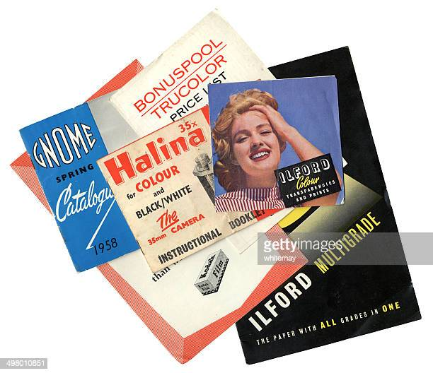 1950s-60s photographic equipment leaflets - flyer leaflet stock photos and pictures