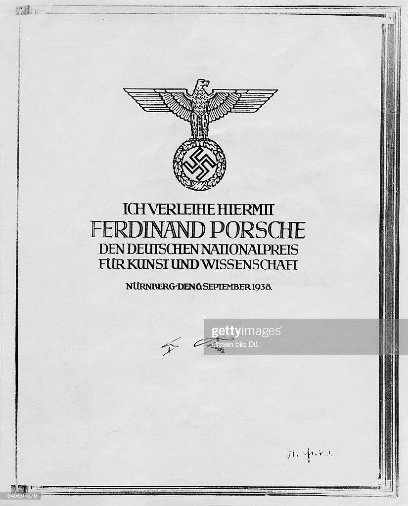 1875 - 1951Kfz-Konstrukteur, DDie Verleihungsurkunde zum... News ...