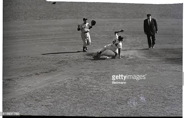 1951Willie Mays Slides safely at second base in the second inning of the third game of the World Series