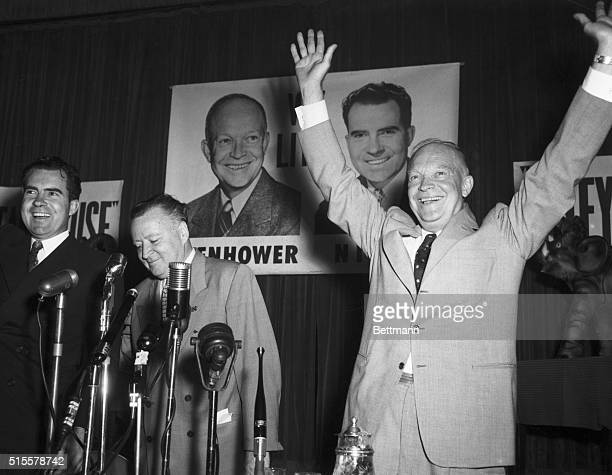1952Dwight D Eisenhower campaigning with VicePresidential candidate Richard Nixon 'Ike' raises his arms in the twoarm salute that was his trademark...