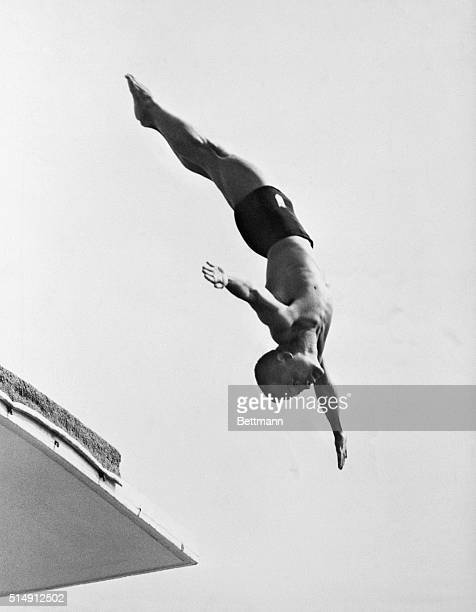 1952Helsinki Finland Sammy Lee of the USA high diving team is shown in action at the Olympic pool