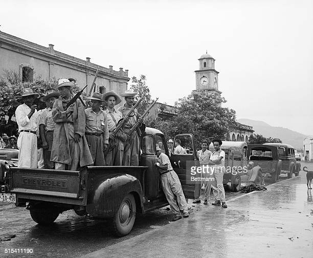 1954Chiquimula Guatemala Truckloads of followers of Colonel Carlos Castillo Armas are shown ready to leave for the front These photos were made prior...