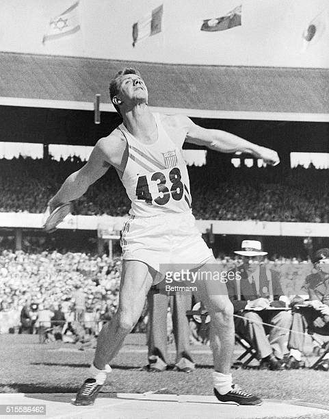 1956Melbourne Australia Alfred A Oerter of the US is shown competing in the final of the men's discus today