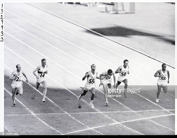1956Melbourne Australia Robert Morrow breaks the tape to wine the 100 meter finals with a winning time of 105 seconds Second was Walter Baker USA...