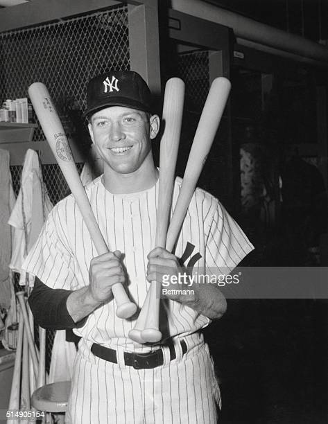 Yankee star Mickey Mantle looks ahead to possibly a record breaking season as the boy terror of thew plains having 27 homers for 60 contests is in...