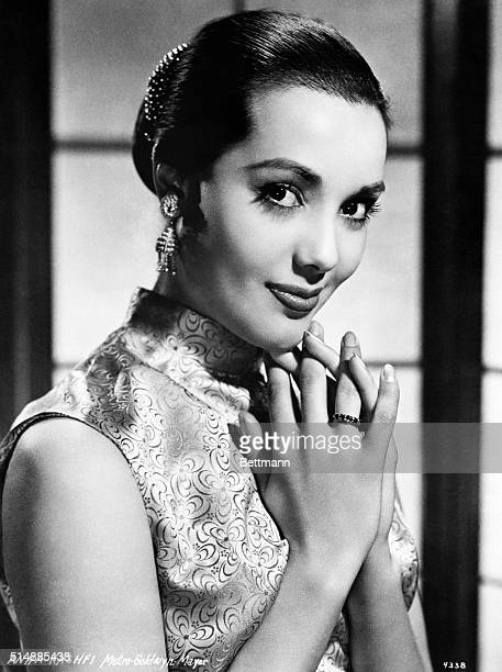 Anna Kashfi, MGM player, in 1957 publicity photograph. She is shown in an Asian-style costume.