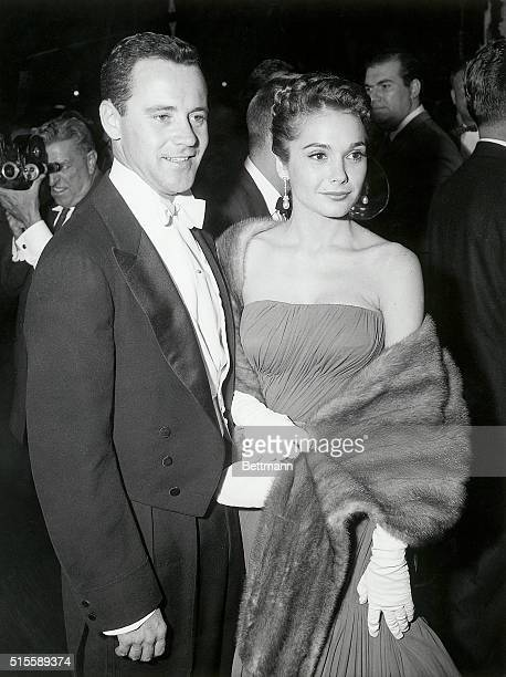Picture shows actor Jack Lemmon and his actress/wife Felicia Farr at the Acedemy Awards together They are posing for photographers outside